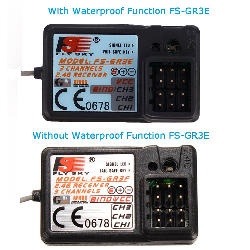 Upgraded Waterproof Flysky Fs Gr3e 24g 3ch Receiver Dc Remote Rc Gt3b 24ghz 5v For Gt2 Gt2b Gt3c Fz It4s Car Boat Transmitter Toys Games