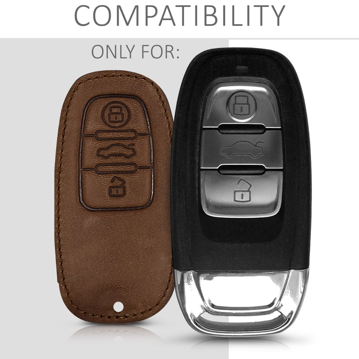 kwmobile Car Key Cover for Audi Red//Black Heavy Duty PU Leather Protective Key Fob Cover for Audi 3 Button Car Key Keyless Go