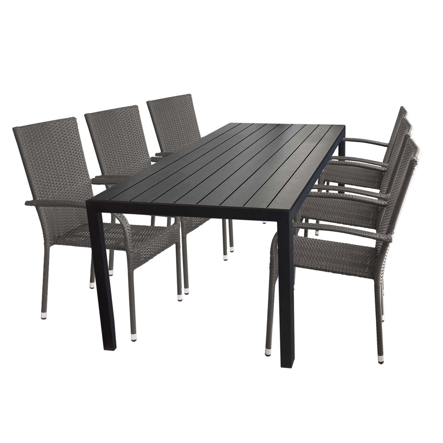 7tlg terrassenm bel set gartentisch aluminium polywood 205x90cm schwarz 6x stapelbarer. Black Bedroom Furniture Sets. Home Design Ideas
