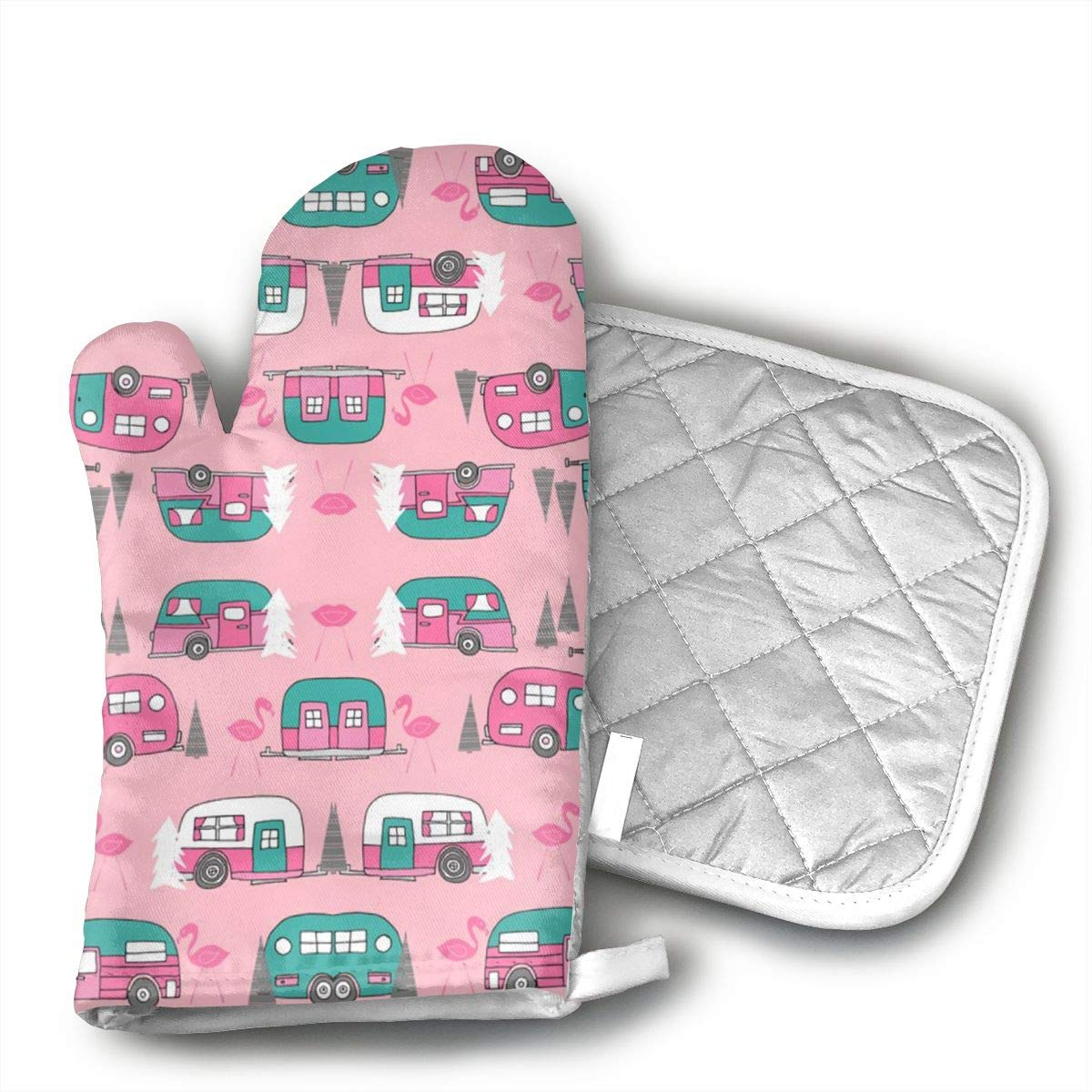 CHWEYAQ Camper Pink Retro Flamingo Cotton Heat Resistant Double Oven Mitts/Gloves Potholder Extra for Kitchen Cooking Baking