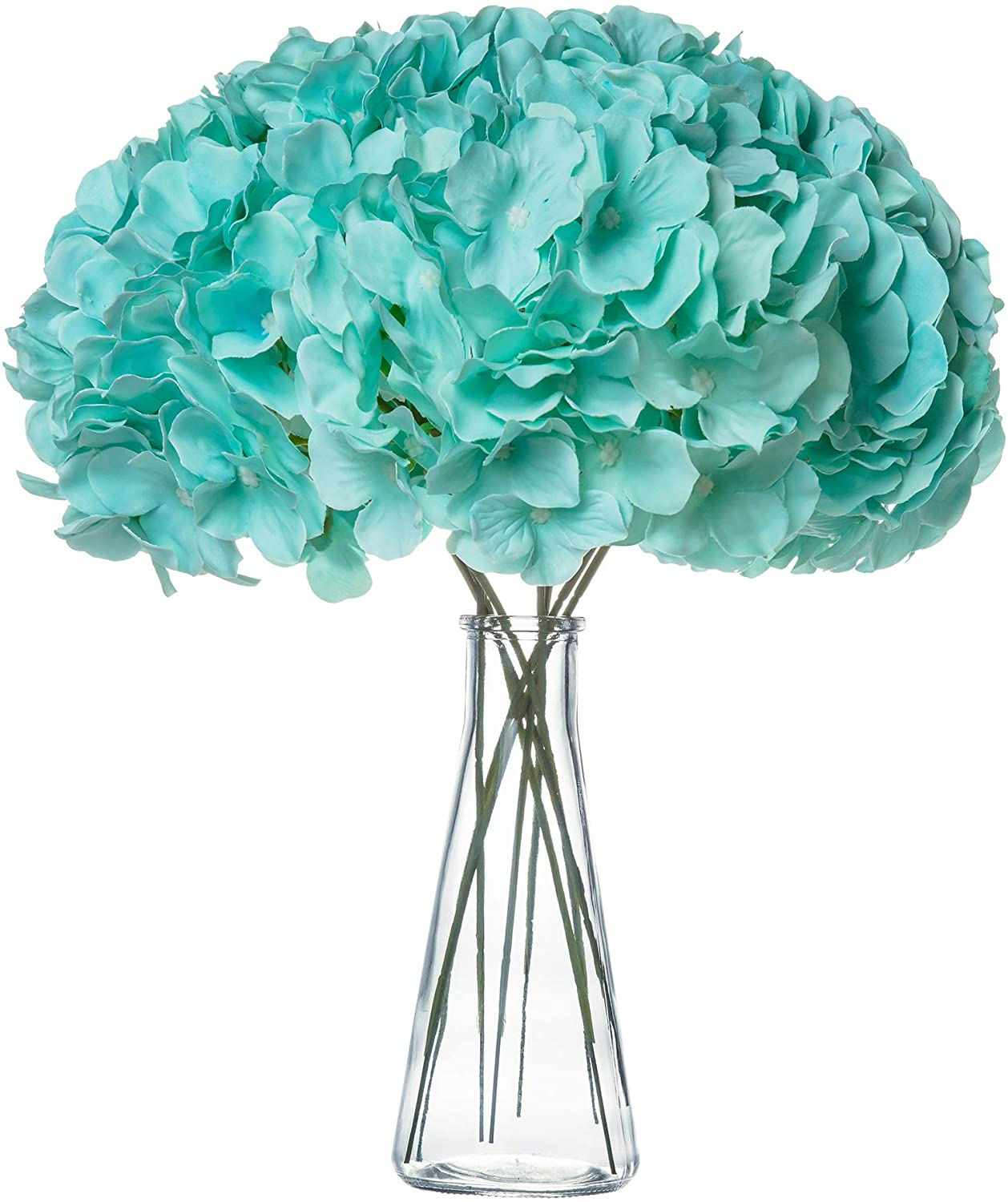 VARWANEO Hydrangea Silk Fake Flowers Heads with Stems, Pack of 12 Full Artificial Flowers for Decoration Wedding Rome Party Shop Baby Shower, Room Decor for Bedroom Aesthetic(Tiffany Blue)