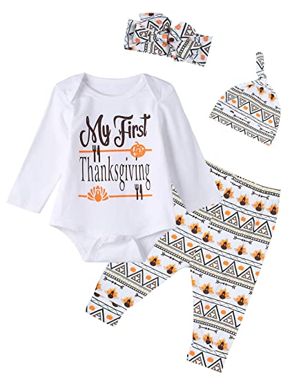 e48d1e1f0 Amazon.com: 4PCS Baby Boys Girls My First Thanksgiving Outfit Set Long  Sleeve Bodysuit (12-18 Months): Clothing