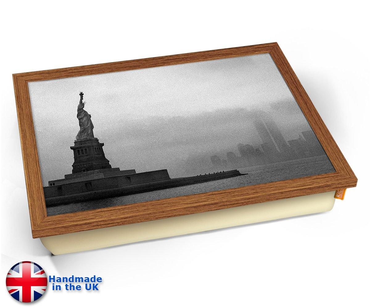 Statue of Liberty New York USA America Cushion Lap Tray Kissen Tablett Knietablett Kissentablett Chrome Effekt Rahmen