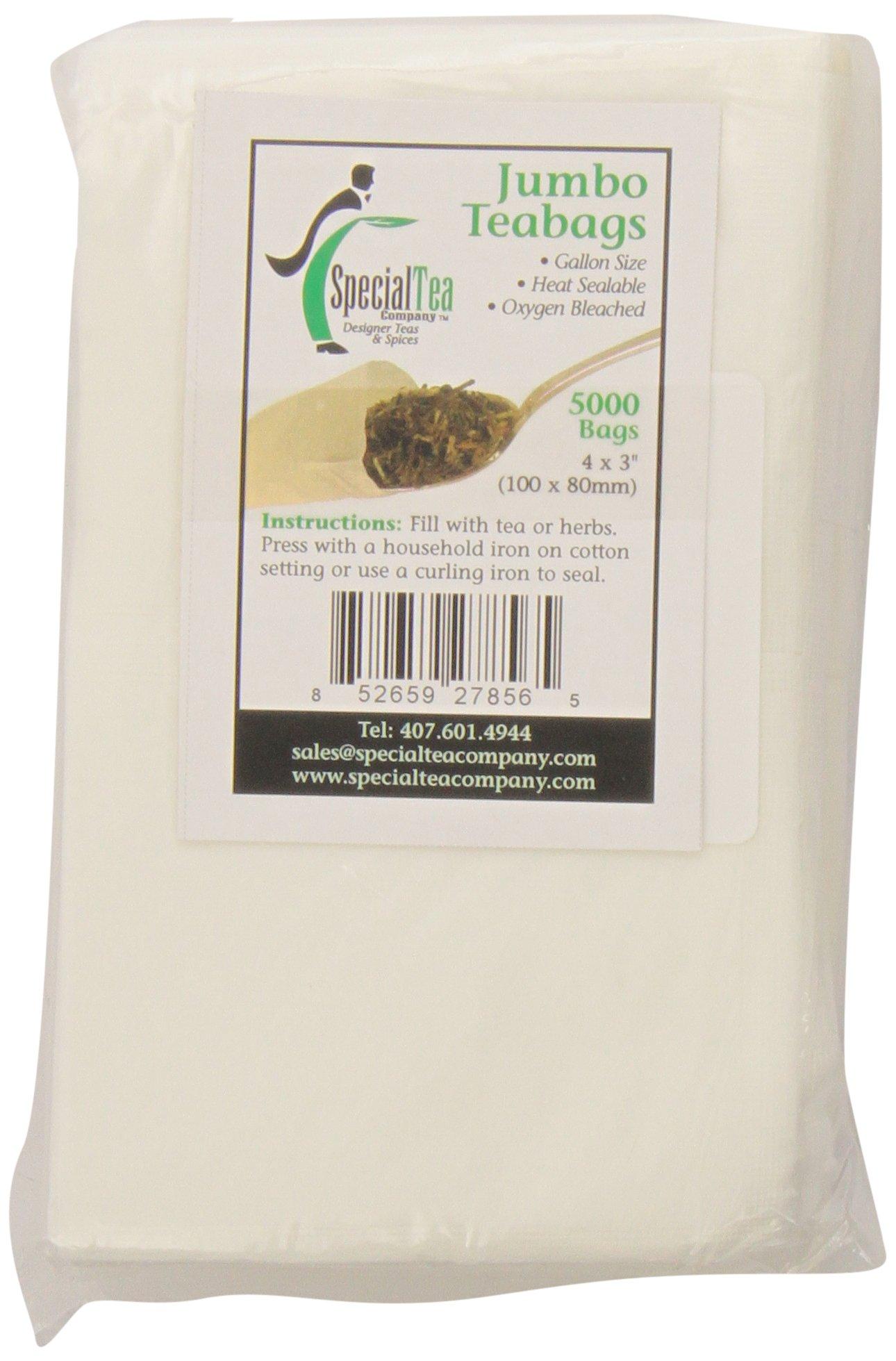 Special Tea Company 4 by 3-Inch 5000-Piece Empty Tea/Herbs Bags, Jumbo