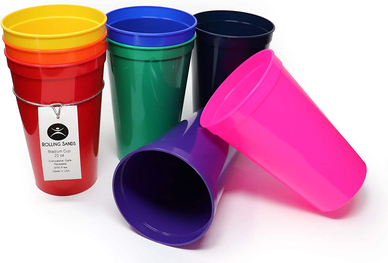 Rolling Sands 22 Ounce Reusable Plastic Stadium Cups Rainbow, 8 Pack, Made in USA, BPA-Free Dishwasher Safe Plastic Tumblers