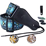Colorful Guitar Strap Jacquard Ribbon Leather End Woven Strap Adjusted Length for Electric Bass,Acoustic&Electric Guitar - With (Random Color) 2 Guitar Picks&2 Strap Locks&1 Strap Hook Button