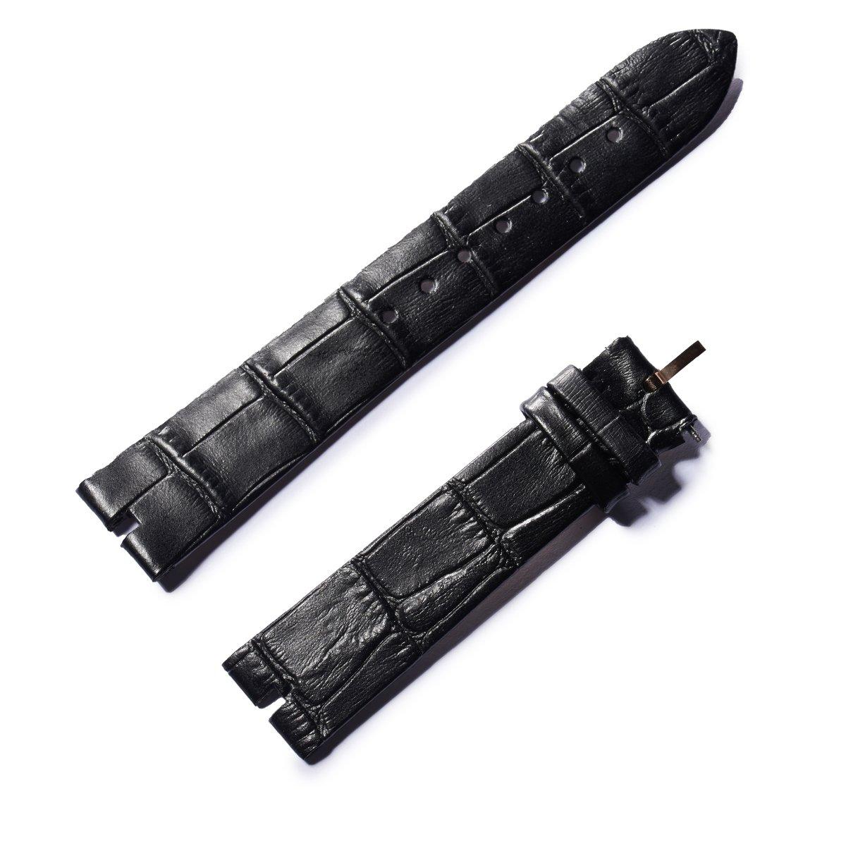 REEF TIGER RT Womens Watch Genuine Leather Strap with Buckle Waterproof Black Calfskin Watch Strap RGA151