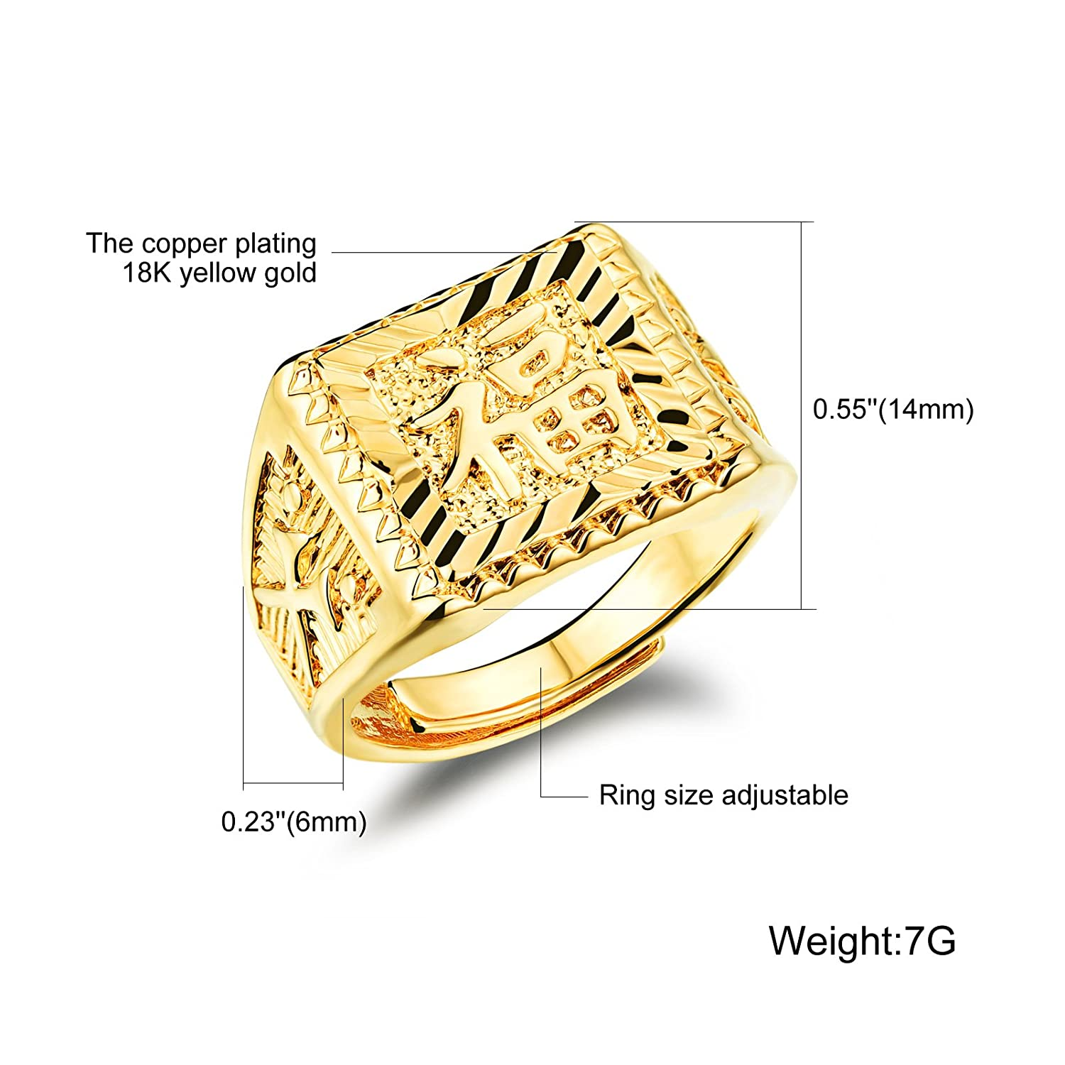 Amazon.com: OPK Jewelry 18K Gold Plated Mens Ring in Chinese ...