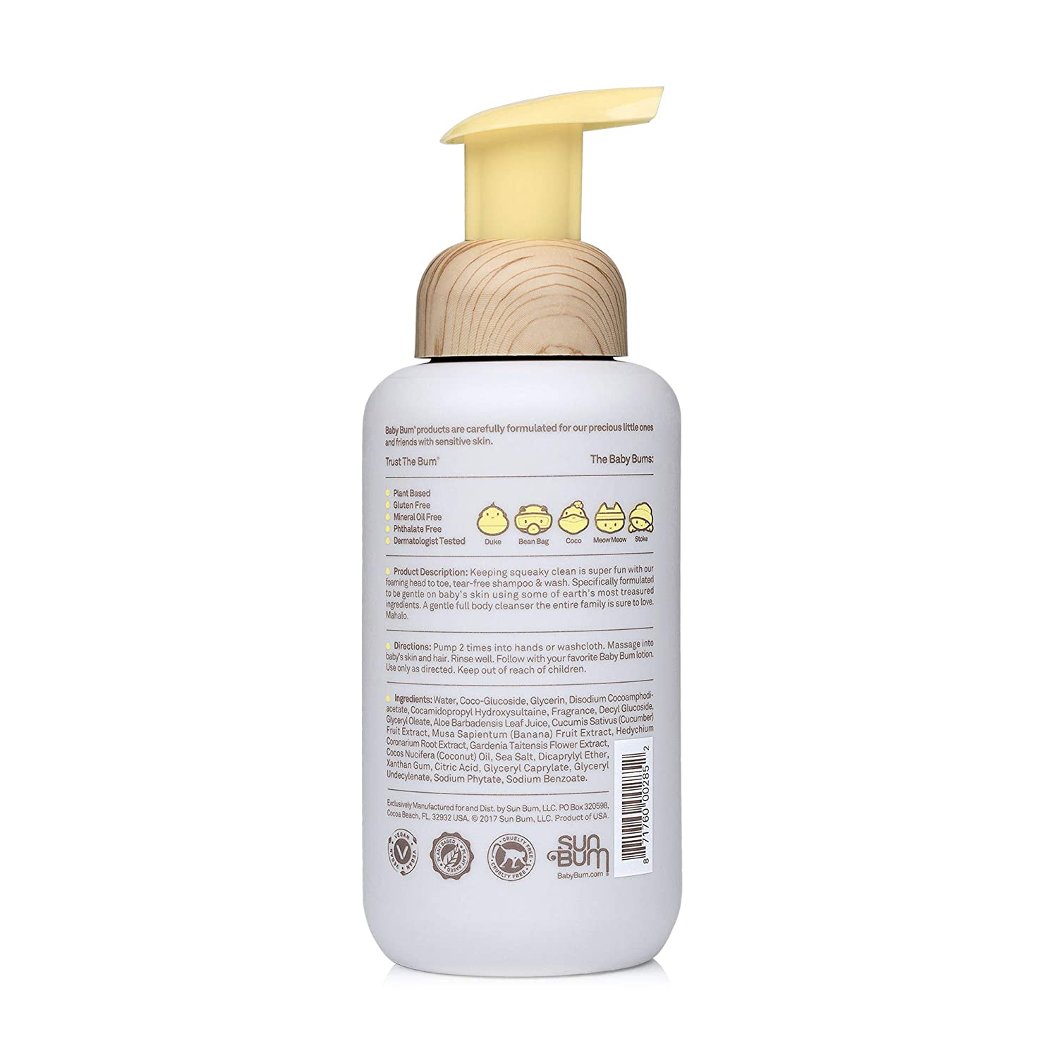 Baby Bum Shampoo & Wash   Tear Free Foaming Soap for Sensitive Skin with Nourishing Coconut Oil   Natural Fragrance   Gluten Free and Vegan   12 FL OZ