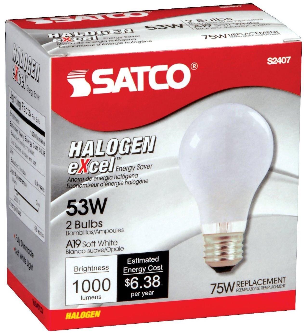 12 Pack Satco S2407 53 Watt 1050 Lumens A19 Halogen 2900K Soft White Light Bulbs (75 Watt Replacement) - 2 per Package (24 Bulbs Total)