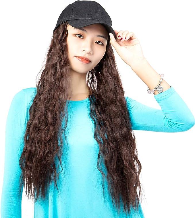 Berretto da baseball con capelli sintetici, capelli ricci e ondulati, con  cappello da baseball regolabile, colore: nero, bianco, con capelli:  Amazon.it: Abbigliamento