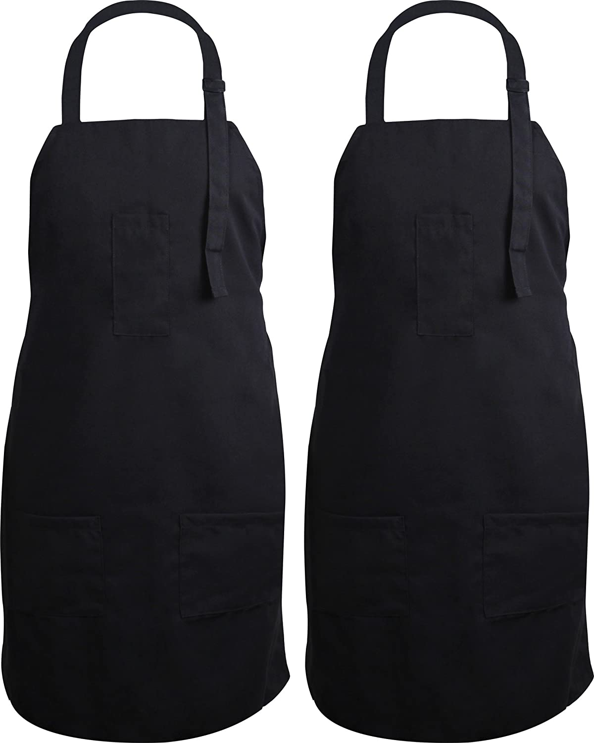 Utopia Kitchen 2 Pack Adjustable Bib Apron with 3 Pockets - Commercial Restaurant and Home Kitchen Apron - Adjustable Neck Strap - Extra Long Ties - Strong Black Utopia Home UK0287