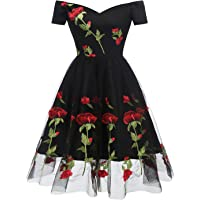 MILANO BRIDE Women's Retro 1950s Short Sleeve A-Line Cocktail Party Swing Dress