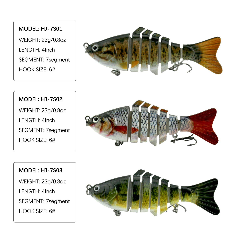 Modenpeak HJ-7S03 7 Segment Swimbait Lures Crankbaits Baits Hard Bait Fishing Lures 4'' 0.8oz by Modenpeak (Image #2)