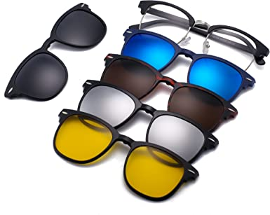 5 Pack Magnetic Clip-on Sunglasses 1 x Sport Outdoor Glasses Frames Classic Rx