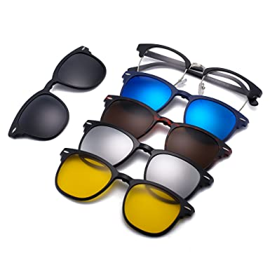 130c61c8fa2 Magnetic 5 Pcs Polarized Clip-on Sunglasses Square Lenses Plastic Frame for  Night Driving 2218A  Amazon.co.uk  Clothing