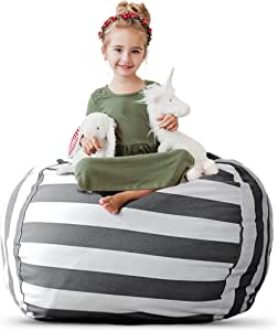 "Stuffed Animal Storage Bean Bag Chair - Extra Large Stuff 'n Sit by Creative QT - Organization for Kids Toy Storage - Available in a Variety of Sizes and Colors (38"", Grey/White Striped)"