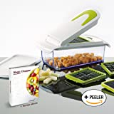 Magic Chopper - 4 Interchangeable Blades - Chop, Cut, Slice & Dice - Great for Fruit & Vegetables - Container with Storage Lid - Perpetual Peeler included and eBook