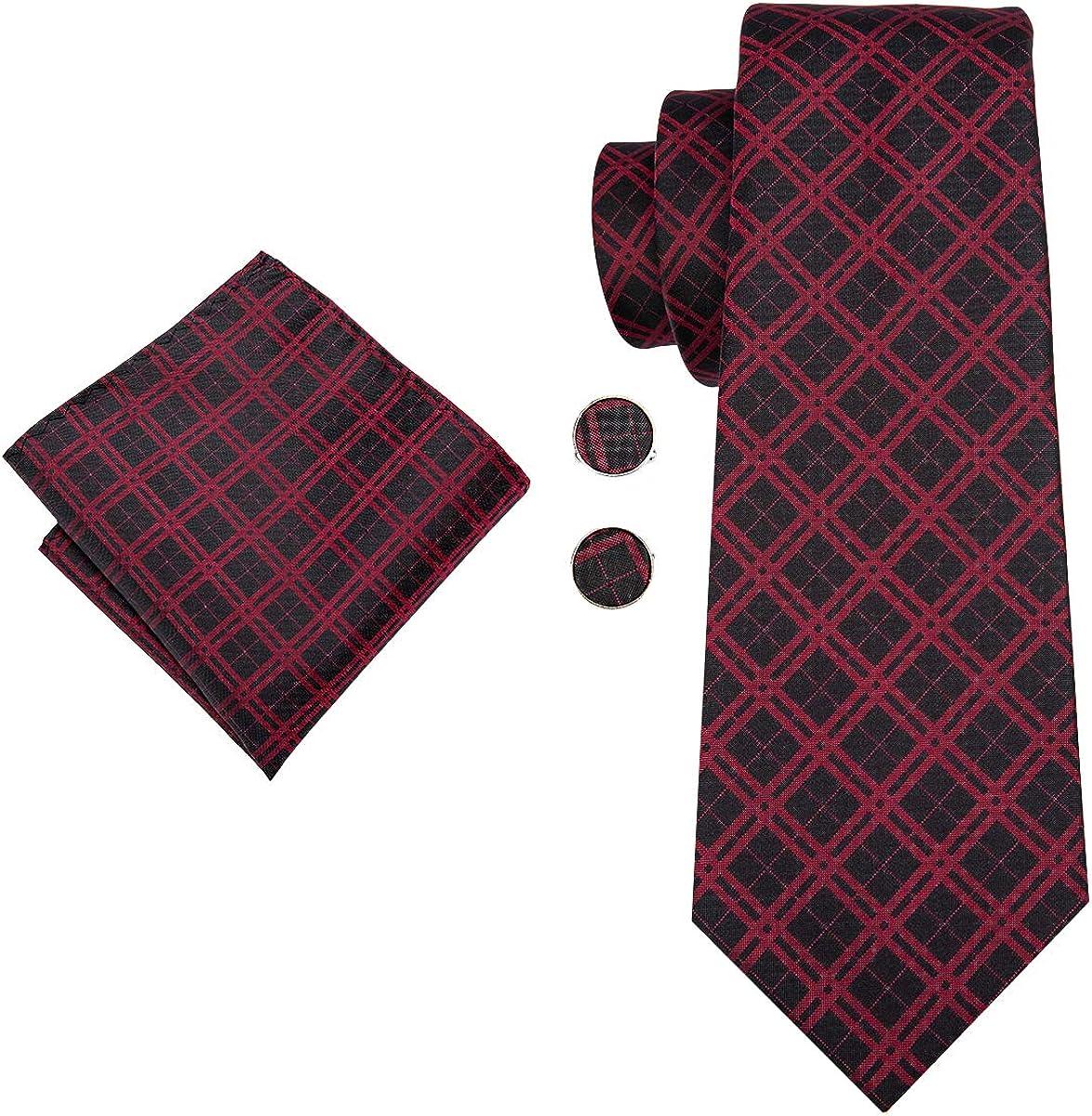 Hi-Tie - Juego de gemelos cuadrados de tela de seda jacquard con ...