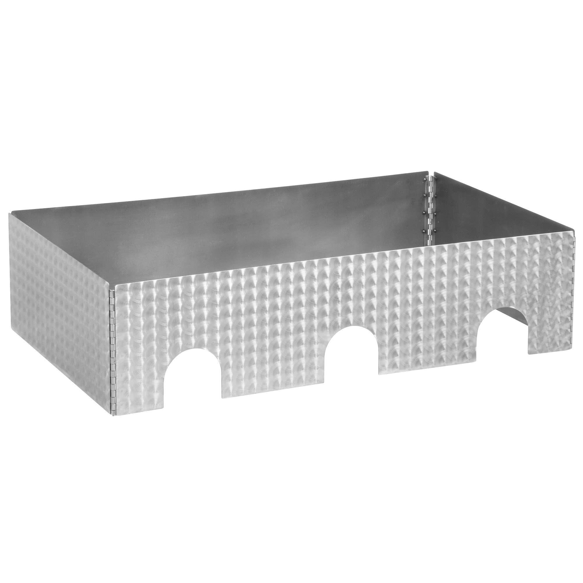 TableTop king Caterware CW603CSS 3-Well Collapsible 16 Gauge Circle Swirl Stainless Steel Server - 38 1/2'' x 20 1/2'' x 10''