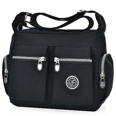 a189010fcd70 Women s Casual Multi Pocket Nylon Cross Body Shoulder Bag Messenger Bags  Handbag Tote Purse (Black