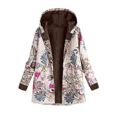 BaZhaHei Abrigo Invierno Mujer Chaqueta Suéter Jersey Mujer Cardigan Mujer Tallas Grandes Outwear Floral Bolsillos con Capucha de Impresión Sudadera Jersey ...