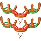 Browill [2+8] Inflatable Antler Ring Toss, Reindeer Ring Toss Stocking Stuffers for Christmas Party Games Funny Gifts…