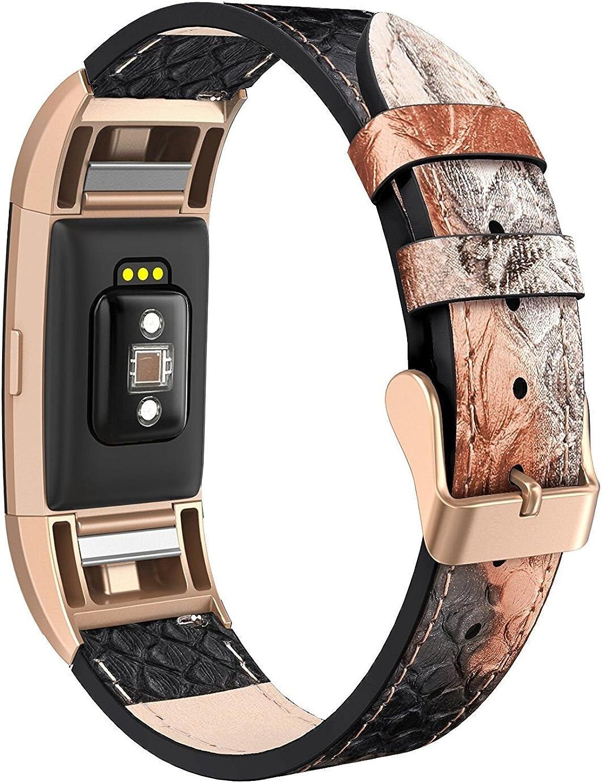 Correa de Repuesto de Piel auténtica para Reloj Fitbit Charge 2, Piel de Serpiente, para Hombre y Mujer, Ajustable, con Conectores de Metal Rosa