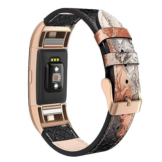 Correa de repuesto de piel auténtica para reloj Fitbit Charge 2, piel de serpiente,