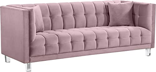Meridian Furniture Mariel Collection Modern Contemporary Velvet Upholstered Sofa with Luxurious Deep Tufting and Acrylic Legs, Pink, 86.5 L x 31 D x 31 H