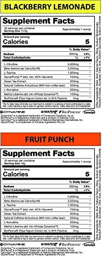 FLOW Supplements – PRE Workout Supplement, Increases Blood Flow, Boost Energy and Endurance, Creatine-Free, Natural Caffeine – BlackBerry Lemonade, 30 Servings