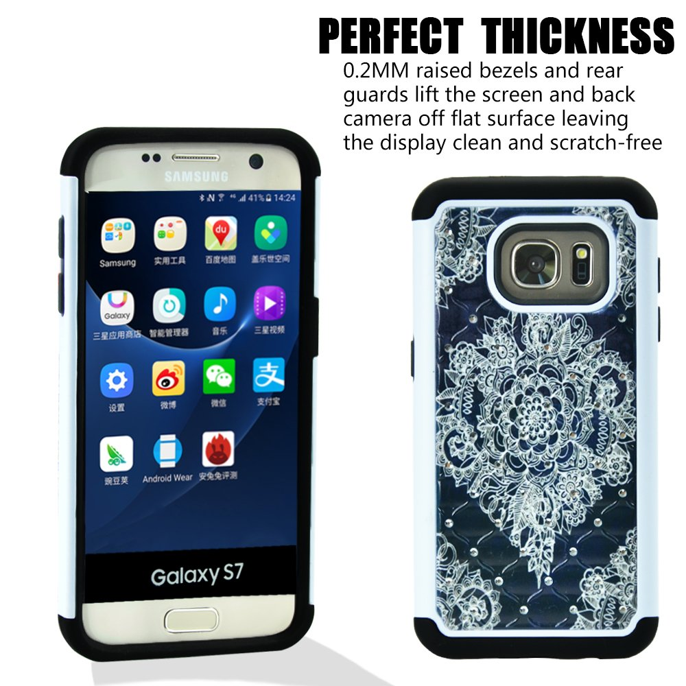 Galaxy S7 Case, MagicSky [Shock Absorption] Studded Rhinestone Bling Hybrid Dual Layer Armor Defender Protective Case Cover for Samsung Galaxy S7 (Flower)