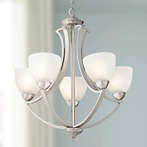 Milbury Satin Nickel Chandelier 24″ Wide Modern White Glass 5-Light Fixture