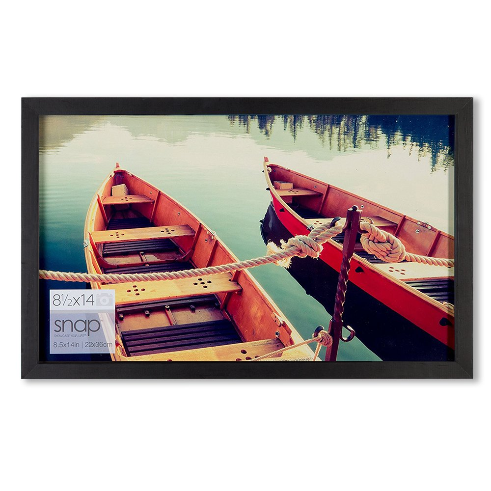 Snap 8.5x14 Black Wood Wall Photo Picture Frame, by Snap