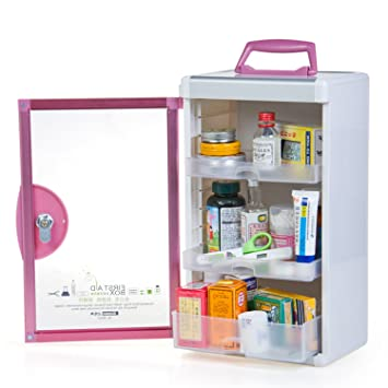 Good AZDENT Wall Medicine Cabinet Locking Medicine Storage Box Container  9.05X6.5X15.43u0026quot;