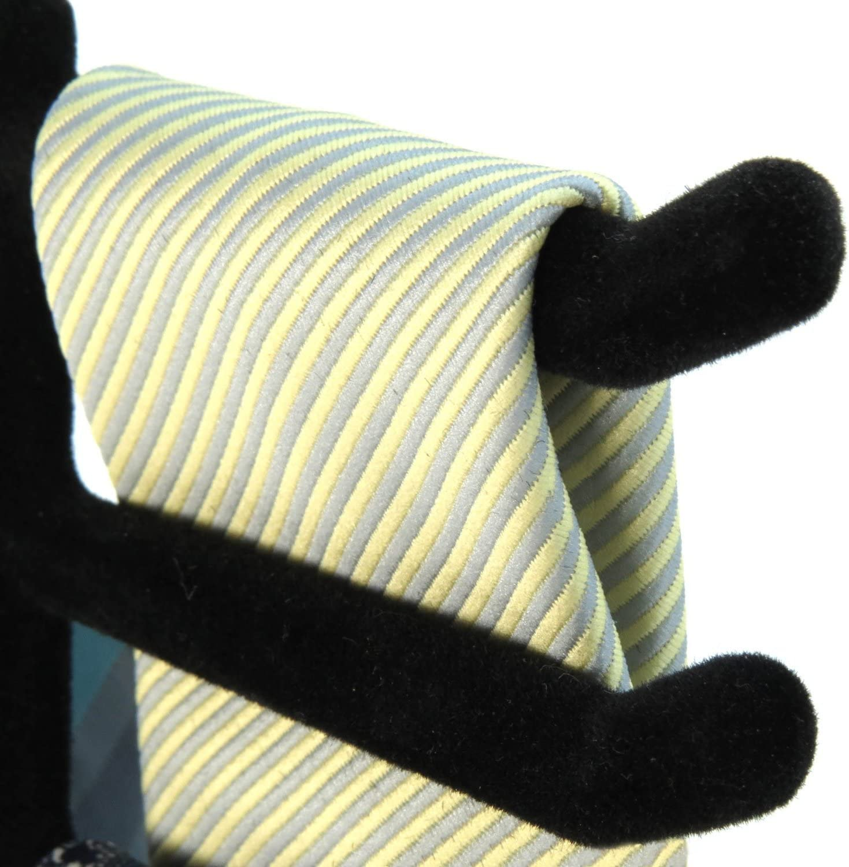 Metal, HANGERWORLD Single Black Flocked Tie Rack /& Belt Organiser Non-Slip Coat Clothes Accessory Hanger