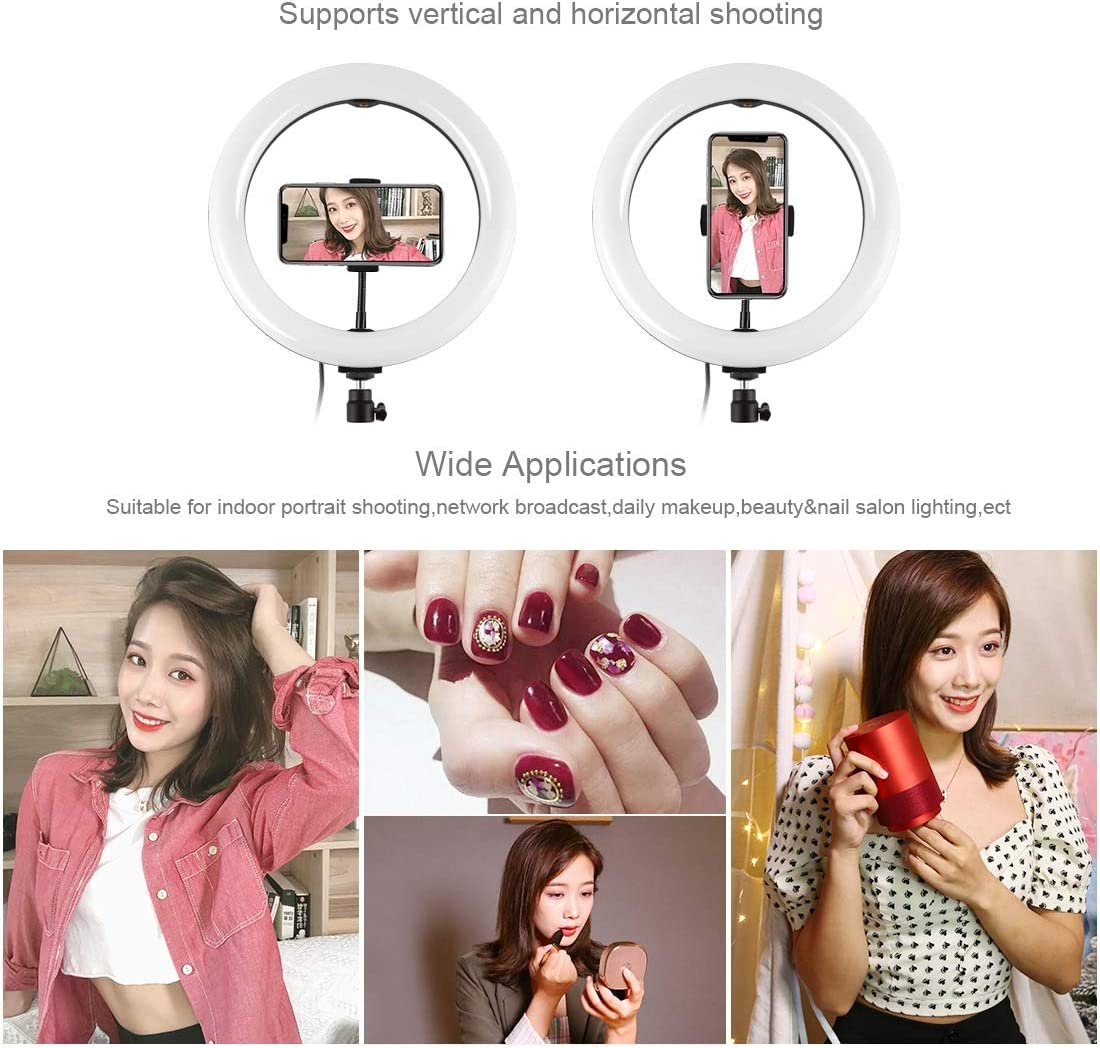 10.2 inch USB RGBW Selfie Ring Light with Adjustable Tripod Stand and Cold Shoe Tripod Ball Head /& Phone Clamp /& Remote Control for Live Stream PULUZ LED RGBW Ring Light Kit Makeup YouTube Video