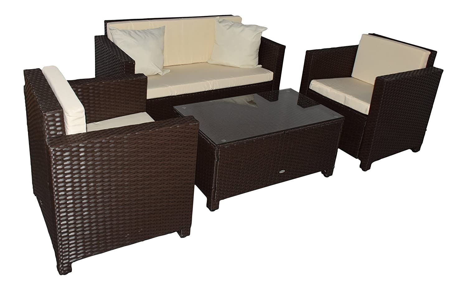 gartenm bel garten lounge sitzgruppe rattan cannes brown kaufen. Black Bedroom Furniture Sets. Home Design Ideas