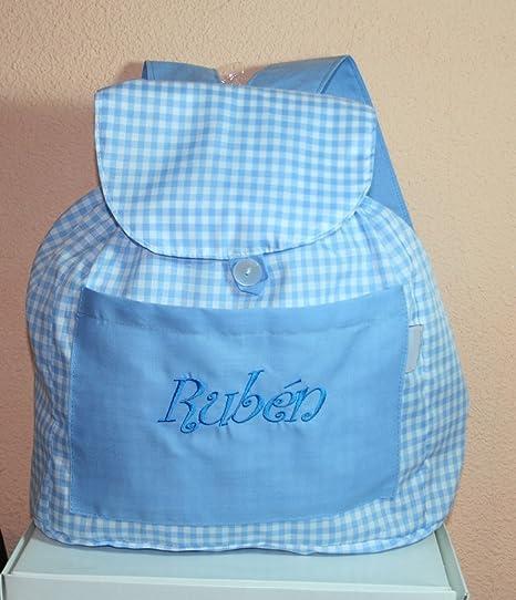 e7e32b290 PRIMERAEDAD Bolsa mochila guarderia de tela cuadros vichy personalizada(26  x 32 x 11