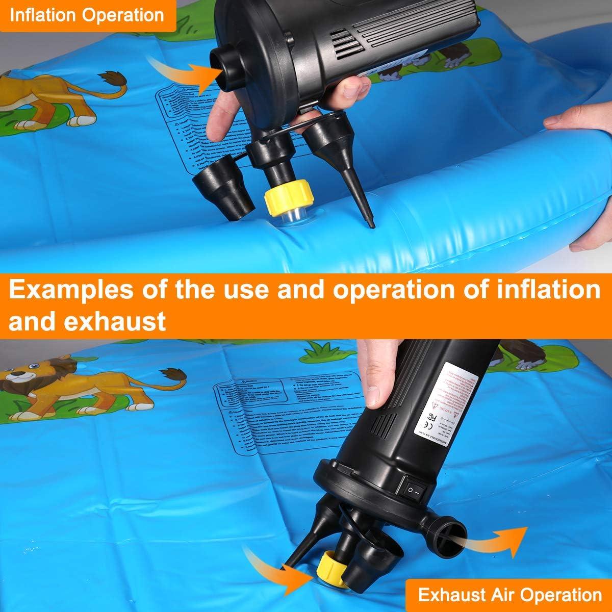 Inflador El/éctrico R/ápido para Inflar//Desinflar DC12V//AC240V con 3 Boquillas Incluidas Usado para Bolsas al Vac/ío Colch/ón Juguetes Car Piscinas Barcos ROTEK Bomba de Aire El/éctrica