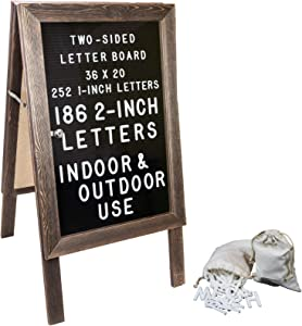 Large Wooden A-Frame Sign 36x20 Felt Letter Board with Changeable Letters & Enclosure. Freestanding Rustic Vintage Message Felt Board. Double Sided Display. Standing Sidewalk Sign.