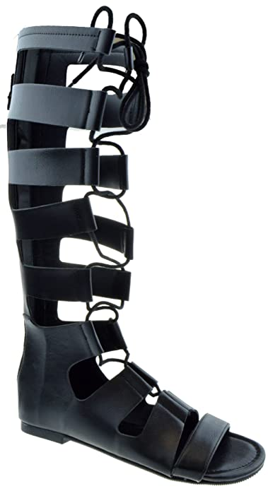 8ba5711cb211 Forvever Reanna s Womens Knee High Caged Gladiator Strappy Flat Sandals  Black 5.5