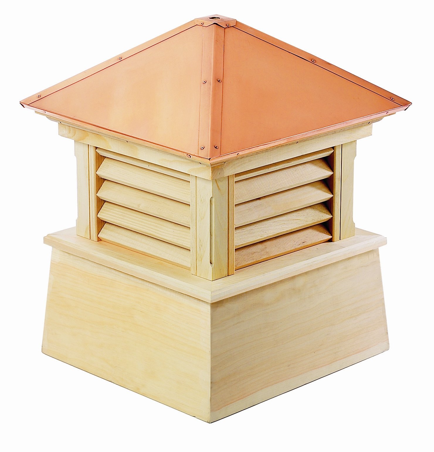 Good Directions Manchester Louvered Cupola with Pure Copper Roof, Cypress Wood, 26'' x 32'', Quick Ship, Reinforced Rafters and Louvers, Cupolas by Good Directions (Image #2)
