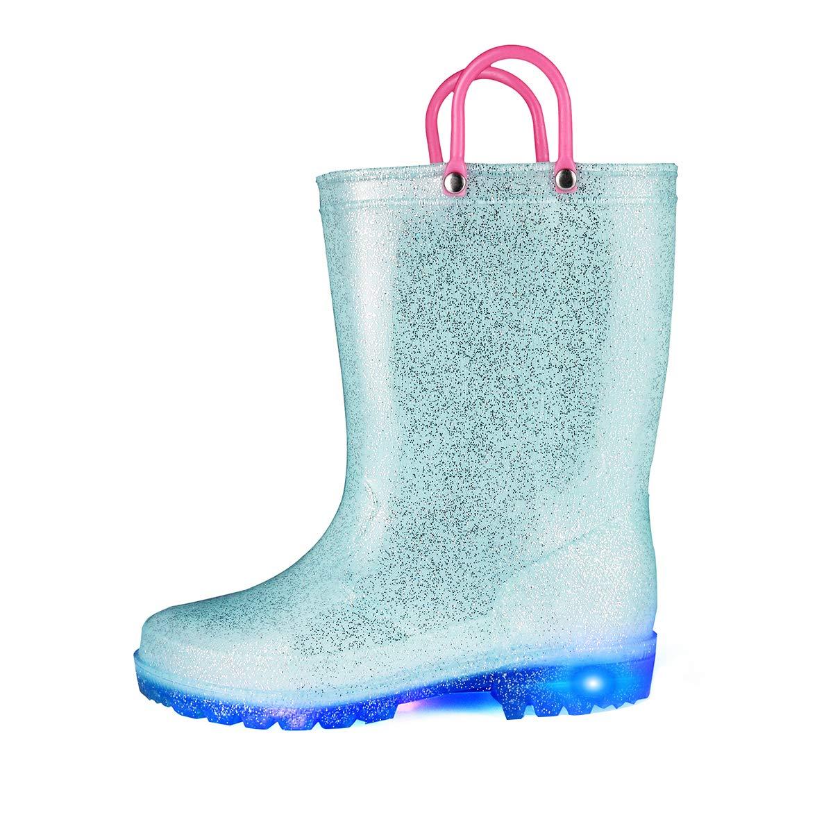 KomForme RPGL054-1M K Light Up Kids Rain Boots Glitter Girl Boots Blue by KomForme (Image #1)
