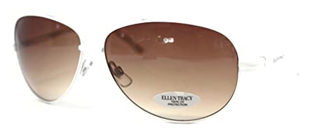 Amazon.com: Ellen Tracy Sunglass Aviator White Metal Fashion ...