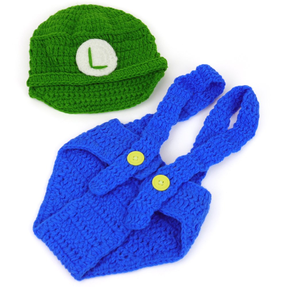 Amazon.com: Mario y Luigi Infant 2 piezas Outfit Crochet ...