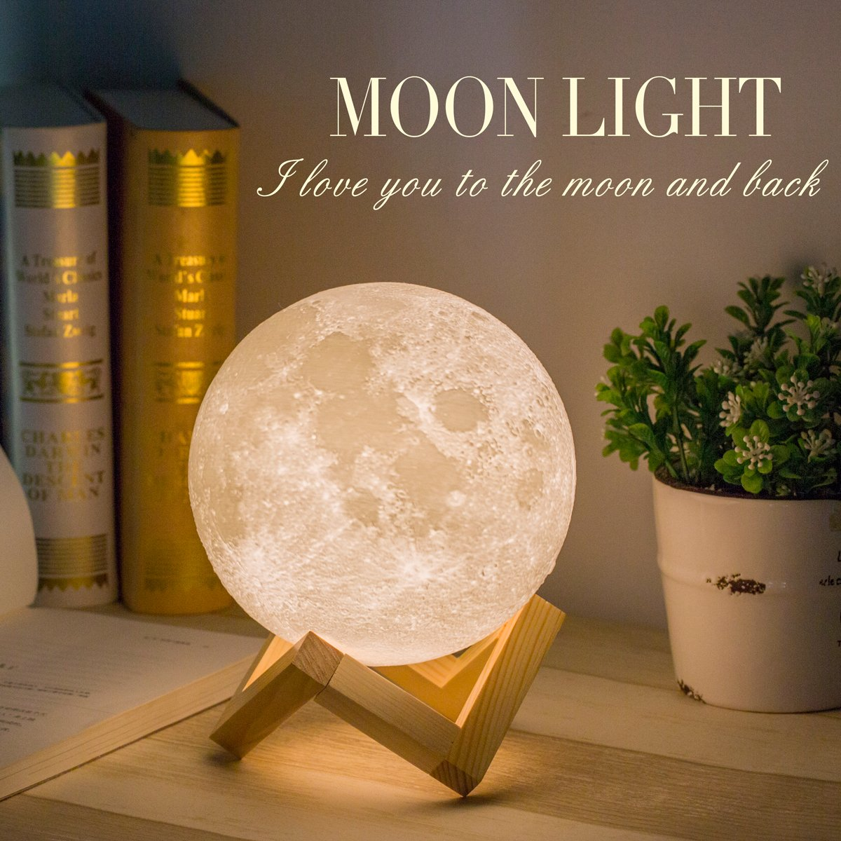 Brightness Women Control White Printed Methun and Night for Moon Kids Lunar Touch Warm Lamp Cool USB Charging Gift 3D Desk Light and for Moon Light oeQdxEWBrC