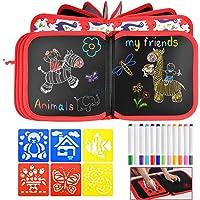 Queta Tabla de Dibujo Portátil para Niños, Bloc de Dibujo con 12 Lápices de Colores y 6 Plantillas Tablero de Dibujo…