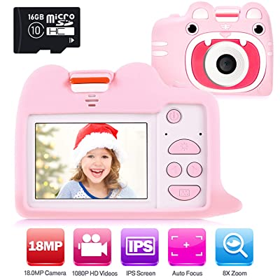 "Ohuhu Kids Camera Toy with 2 Silicone Case, Girls Boys Camera with 16GB SD Card, 1080P HD 18.0MP Digital Video Camera Recorder Camcorder for Children Birthday Valentine Gifts, 2"" IPS Screen for 3+: Toys & Games"