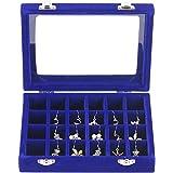 SYGA 24 Section Velvet Glass Jewelry Ring Display Organiser Box Tray Holder Earrings Storage Case